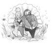 MERMAID SCHOOL Couple in clam -